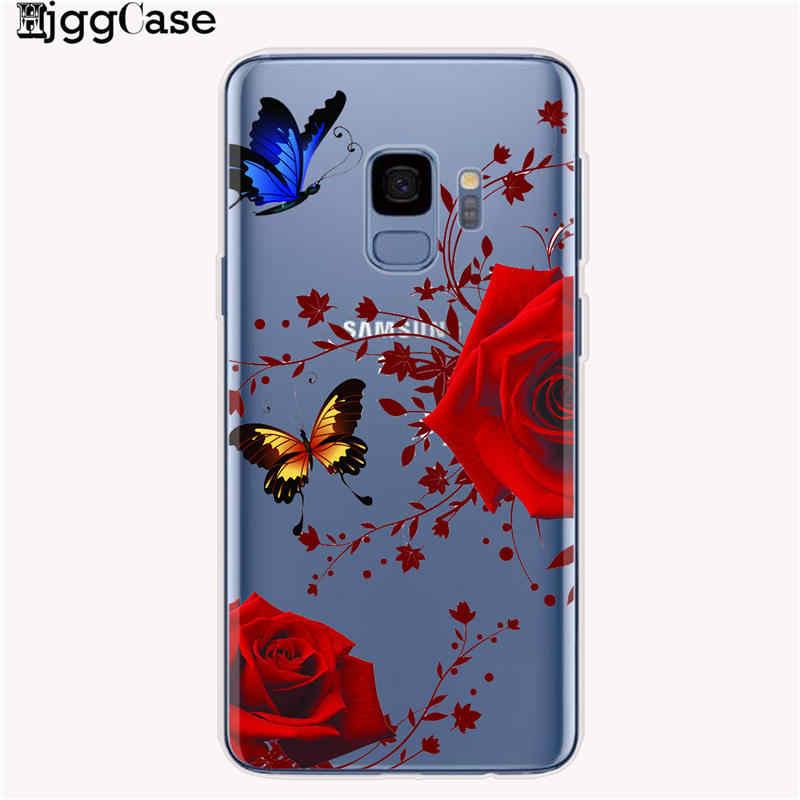 Telefone dos desenhos animados Teste Padrão de Borboleta Flor Macio TPU Silicone Case Capa Voltar Para Samsung Galaxy A10 A20 A50 A30 A70 A6 a8 A7 A9 2018