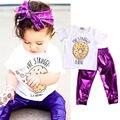 Menina Roupa Do Bebê Set Meninas Moda quente Tops T-shirt + Calças Leggings Metálicas Brilhantes 2 pcs Roupas Set Crianças Traje