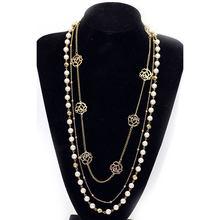 2159b0b4cfdb Moda rhinestone multi capas collar largo perlas de imitación suéter Collares  de cadena joyería m8694