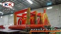 Curso de obstáculo inflável barato inflável das crianças da corrediça do safari