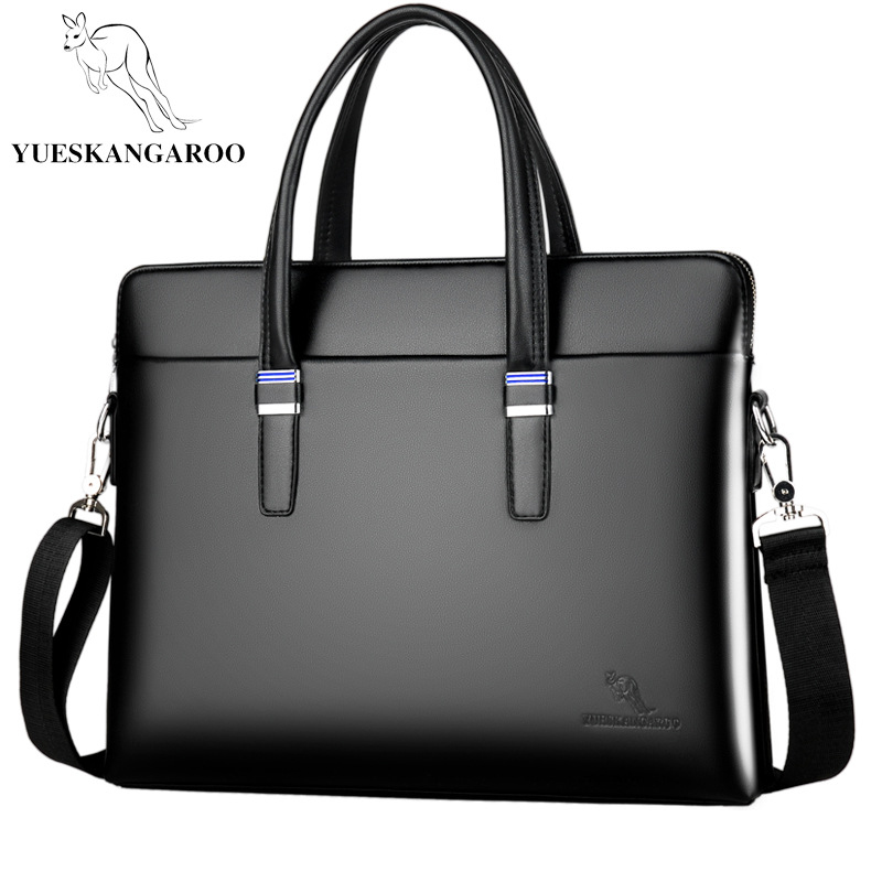 YUESKANGAROO Men Business Leather Briefcase Shoulder Messenger Bag For 14