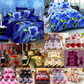 Sanding 3D Scenic Rose Flowers Pattern Bedding Set Bed sheets Duvet Cover Bed sheet Pillowcase 4pcs
