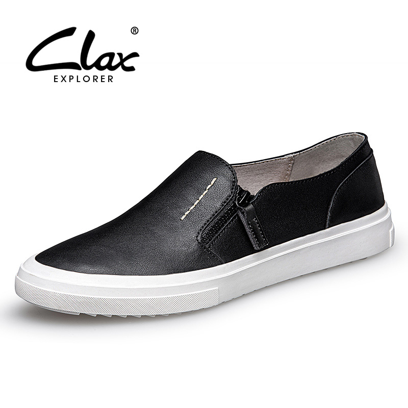 Clax Men Loafers Casual 2017 Spring Summer Genuine Leather Walking Shoes Slip On Male Flats Boat Footwear Luxury Brand 2017 autumn fashion men pu shoes slip on black shoes casual loafers mens moccasins soft shoes male walking flats pu footwear