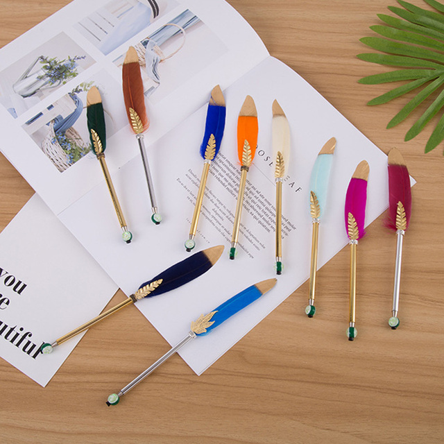 1Pc Cute Feather Ballpoint Pens Gold Powder Ball Pens 0.5mm Creative Pens For Writing School Office Supplies Novelty Stationery 1