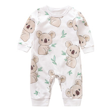 YiErYing Newborn 100% Cotton Romper Infant Toddler Cute Koala printing Summer Long Sleeve Kids Jumps