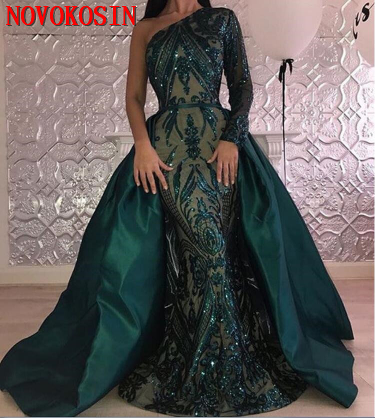 One Shoulder Long Sleeves Green Sequin Plus Size Formal Gown Prom Dress  With Satin Detachable Train 2019 Muslim Evening Dress