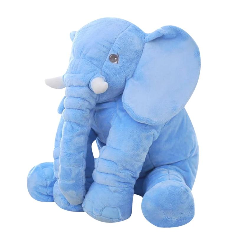 Blue 65cm Height Large Plush Elephant Doll Toy Kids Sleeping Back Cushion Cute Stuffed Elephant Baby Accompany Doll Xmas Gift 60cm large plush elephant toy kids sleeping back cushion soft elephant doll baby doll birthday gift holiday gift stuffed doll