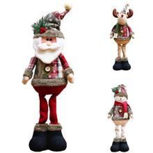 NEW Retractable Santa Claus/Snowman Dolls Standing Navidad Figurine Christmas tree Ornaments Kids Christmas Gifts Toy A20