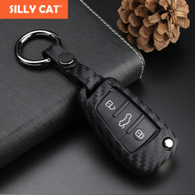 SILLY CAT Carbon Fiber Pattern Car Key Cover Case For Audi A1 A3 A4 A5 A6 A7 A8 Q3 Q5 Q7 TT fob case Bag