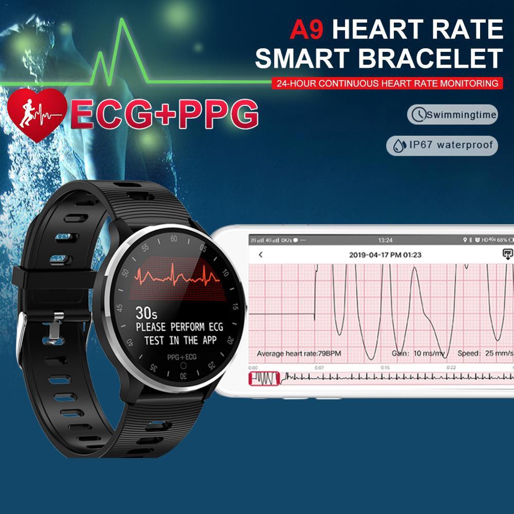 ECG+PPG A9 Smart Watch HRV Report Heart Rate Blood Pressure Test Waterproof IP67 Sports Watch PK Zeblaze VIBE 3 EKG