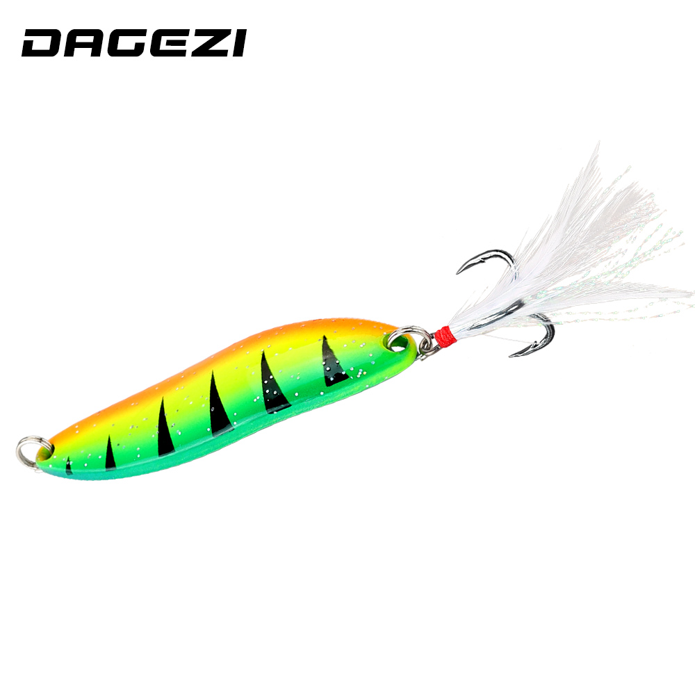 DAGEZI Metal Spoon Lure 5g/9g/13g/18g/21g 1pcs Saltwater Fishing Lure With Feather Laser Body Sinking Bait For Carp Fishing Bait