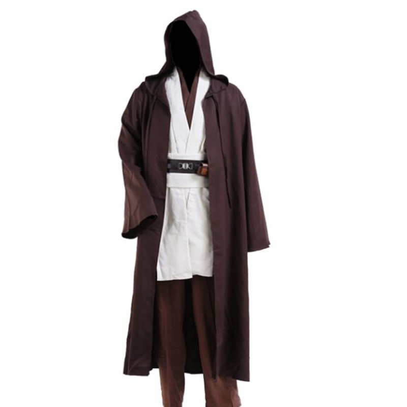 Jedi Cloak Cosplay Costumes Adult Men Hooded Robe Cloak Cape Costume Halloween Christmas Dress Black Brown