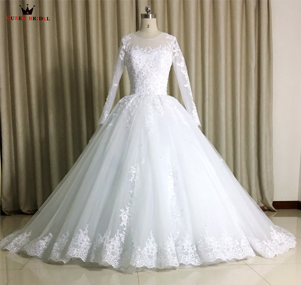 100% Real Photo Custom Size Wedding Dresses Ball Gown Fluffy Long Sleeve Tulle Lace Beading Elegant Plus Size 2019 New WS21M