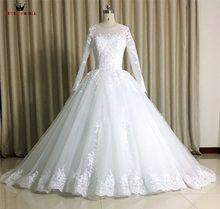 100% Real Photo Custom Size Wedding Dresses Ball Gown Fluffy Long Sleeve  Tulle Lace Beading 8931e6e5e05d