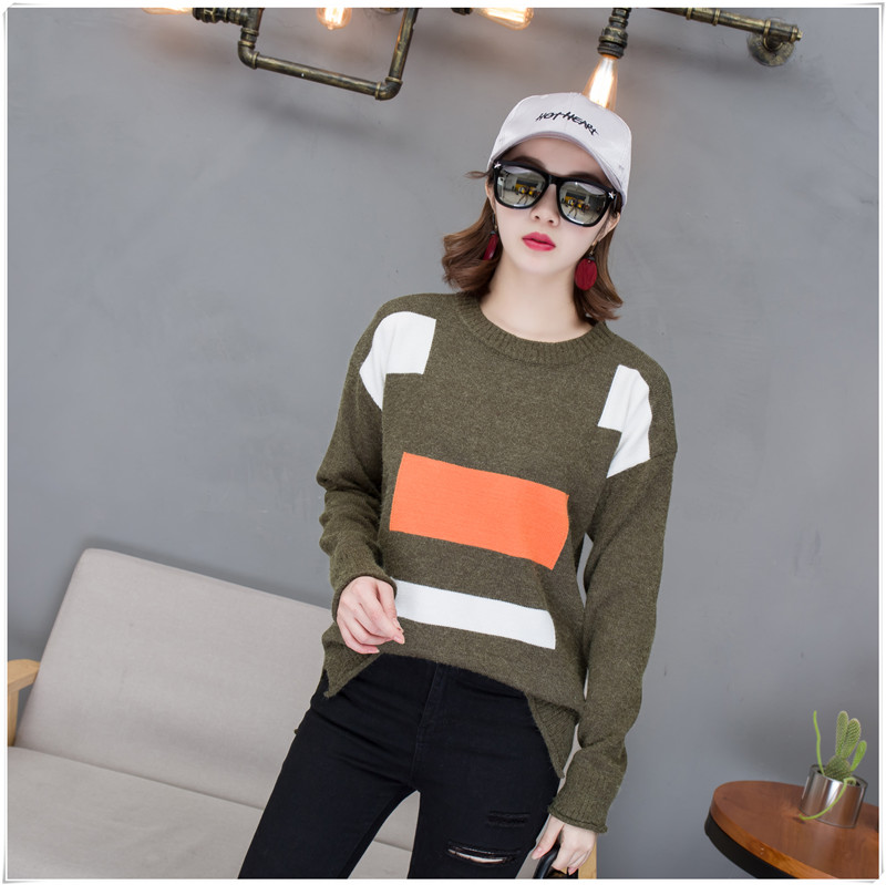 Pengpious Korean style long sleeve maternity clothes spring autumn pregnant women fashion sweater block color knitted pullovers