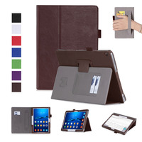 Luxury Cowhide Hand Strap PU Leather Cover Magnet Card Holder Stand Case For Huawei MediaPad M3