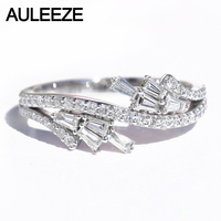 AULEEZE Feather Shape 0.46cttw Real Diamond Ring Solid 18K 750 White Gold Office Lady Rings Diamond Jewelry