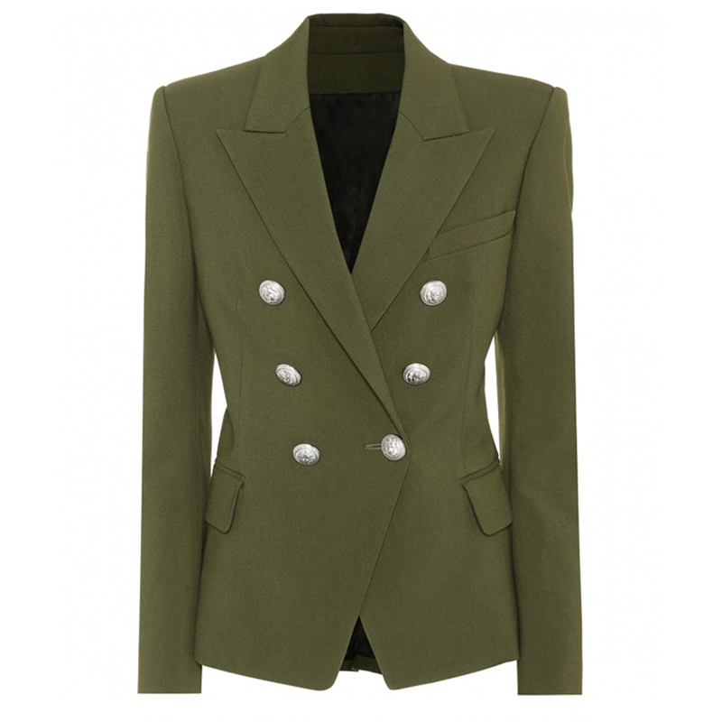 HIGH STREET New Stylish 2020 Designer Blazer Women's Classic Lion Silver Buttons Double Breasted Blazer Jacket Army Green