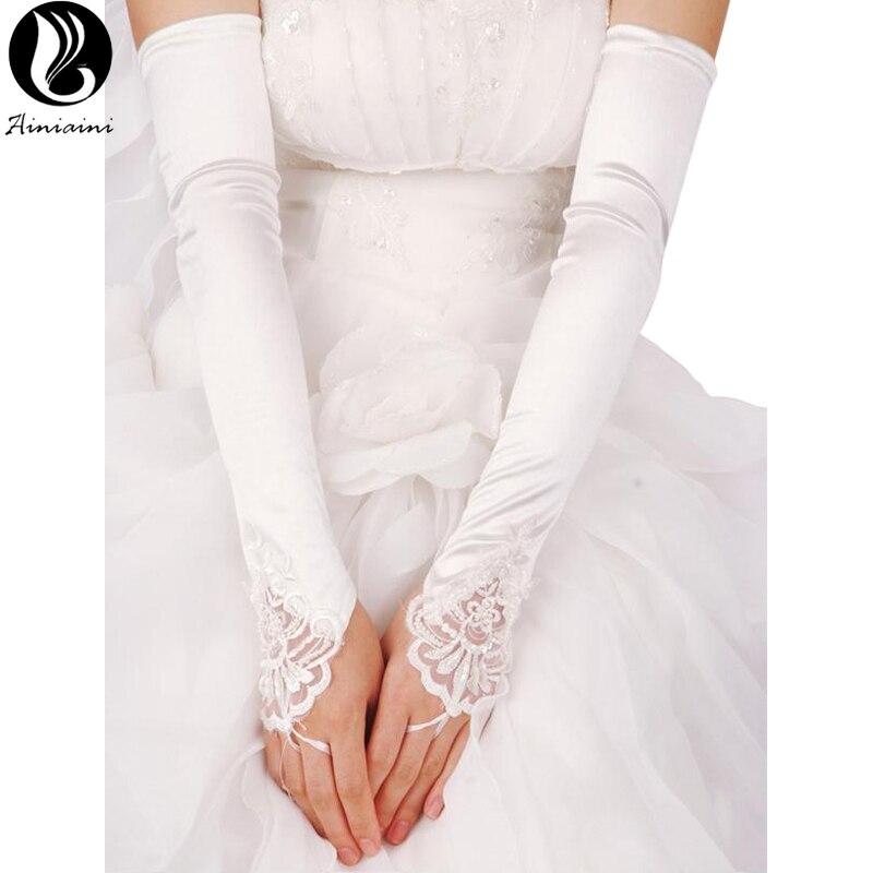 5 Colors Wedding Gloves Fingerless Long To The Elbow Statin Beades Gants Dentelle For Bride Wedding Accessories Hot CK210