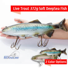 Seanlure Live Trout Rainbow Trout Giant Swimbait 372g Softbait Deep Sea Fish 30cm Big Size Simulate Fish Lure Fishing Tackle