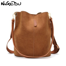NIGEDU Women Bucket bag Matte PU Leather Female Messenger Crossbody bag Wide strap Shoulder Bag for lady handbag bolsos black