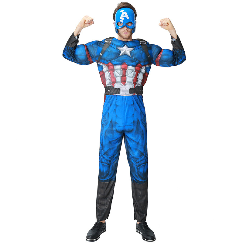 Children Adults Avengers Captain America Muscle Costume Halloween Superhero Cosplay Boy Gifts Fancy Dress Outfit with Mask