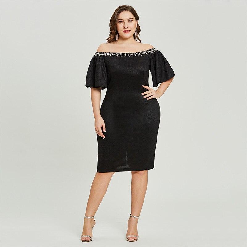 Dressv Black Cocktail Dress Plus Size Off The Shoulder Knee Length Half Sleeve Graduation Party Dress Elegant Fashion Dresses