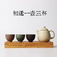 Creative Gift Chinese Keramische Oude Oven Grof Aardewerk en Porselein Reizen Thee Set Oven Gepigmenteerde Theepot Thee Cup met Lade