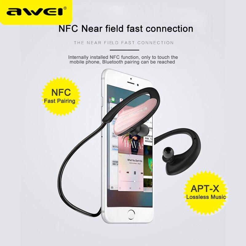 Image 2 - AWEI A885BL APT X Wireless Bluetooth Earphones Sport Ear hook  HiFi Stereo Bass Lossless Sound Sound NFC Fast Connet ChargingEarphones