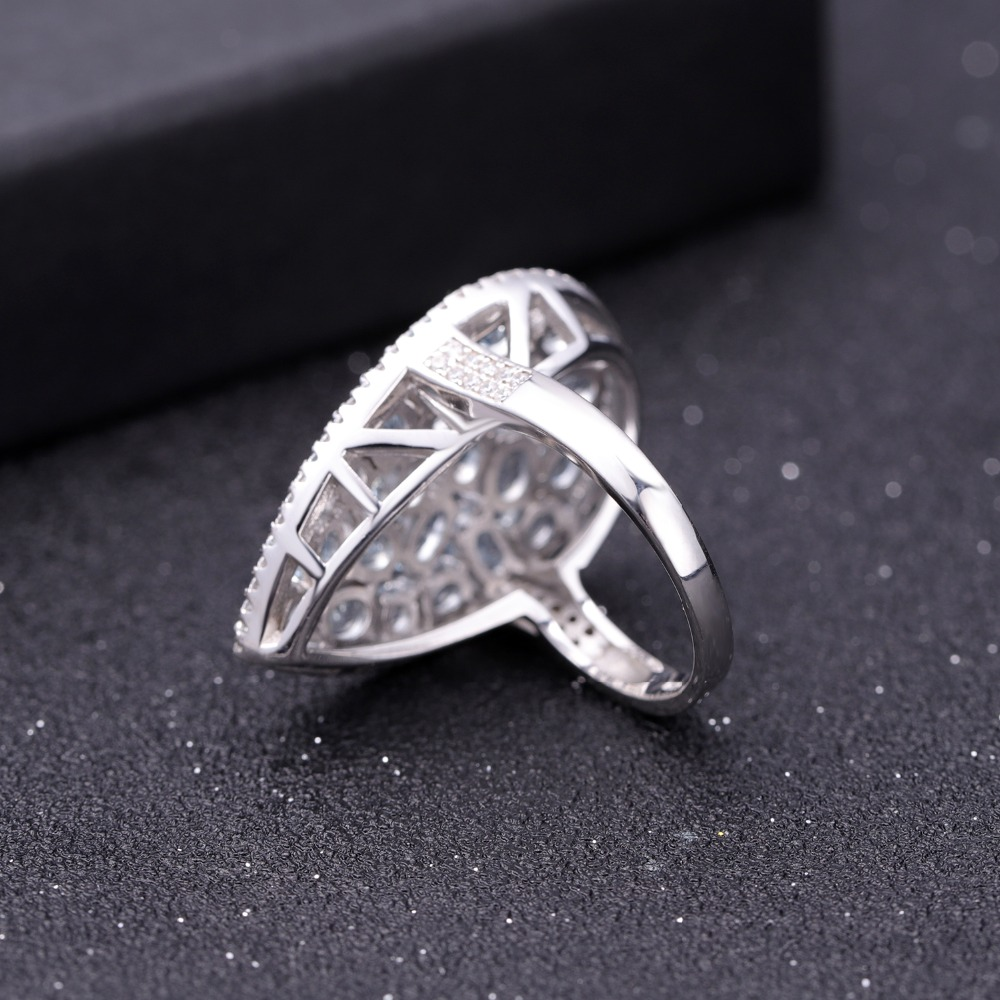 GEM'S バレエ 6.31Ct 天然スカイブルートパーズカクテル 925 スターリングシルバー宝石用原石の結婚指輪ファインジュエリー  グループ上の ジュエリー & アクセサリー からの 指輪 の中 3