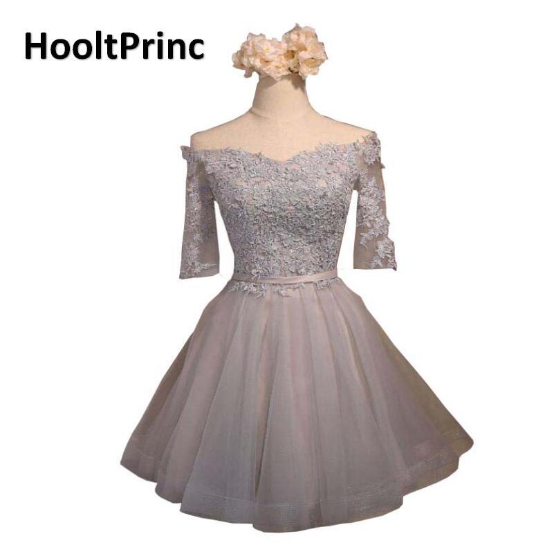 Vestido HooltPrinc Grey Lace Flower Short Evening Dress