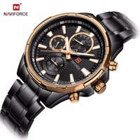 NAVIFORCE Mens Watches Top Brand Luxury Black Full Steel Waterproof Quartz Watch Men Casual Sport Chronograph Wristwatch Clock