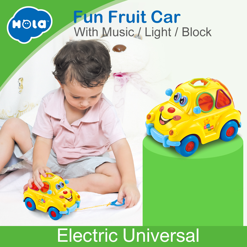 HUILE TOYS 516 Baby Toys Electronic Car with Music & Light & Puzzle & Fruit Shape Sorters Learning Educational Toys for Children стоимость