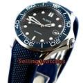 41 мм черный циферблат синий резиновый ремешок синий керамический ободок сапфировое стекло Дата механические Автоматические Мужские часы
