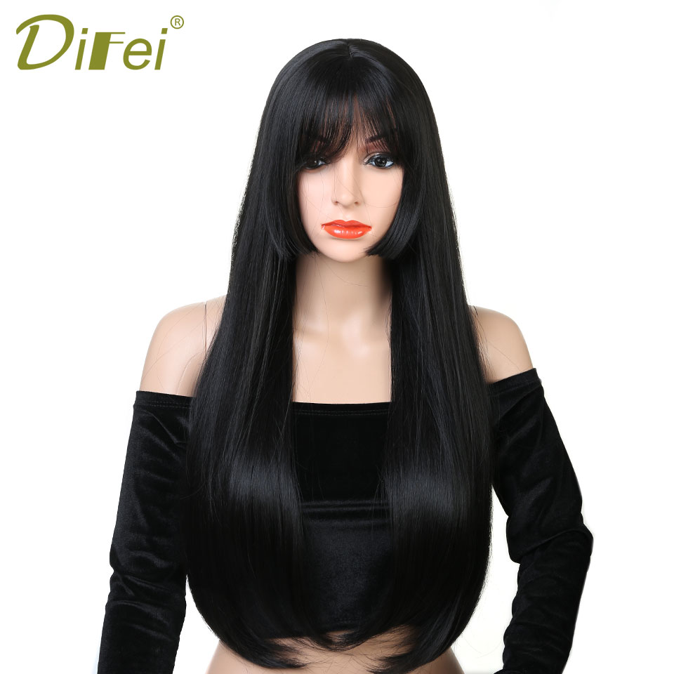 DIFEI 24 Inches Long Black Wigs with Bangs Heat Resistant Synthetic Straight Wigs for Women African American Fake Hair