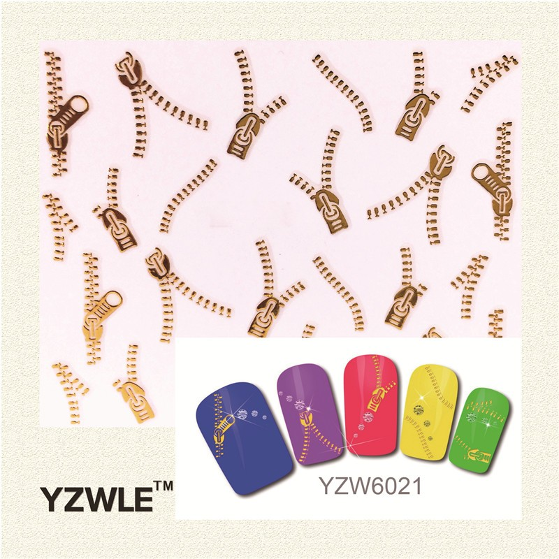 YZWLE 1 Sheets Fashion 3D DIY Gold Zipper Design Nail Art Sticker Decal Manicure Nail Tools 1