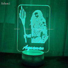 Ashoni Aquaman 3D Lamp Bedroom Table Lamp Acrylic Panel USB  Night Light Cable 7 Colors Change Touch Base Lamp Kids Gift Toy недорого