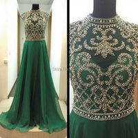 Real Picture Green Chiffon Evening Dresses 2016 Luxury Hand Beaded High Neck Long Women Pregnant Formal