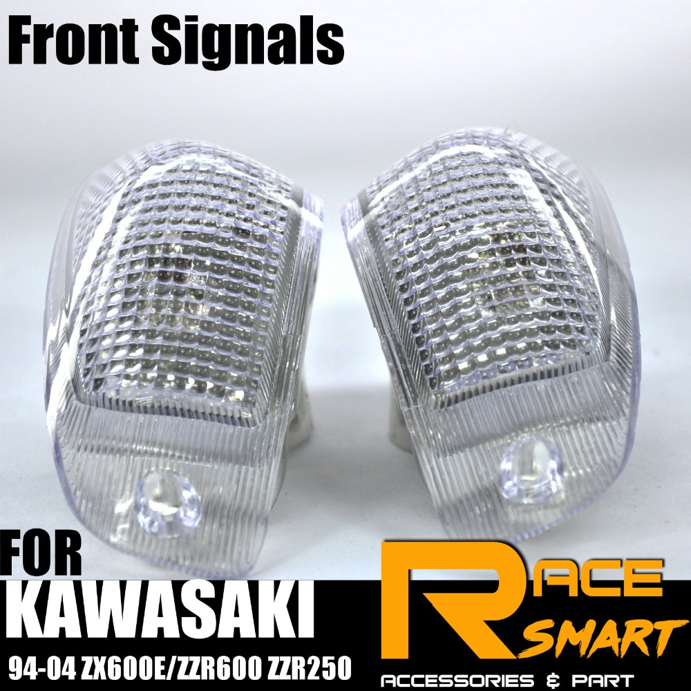 Front Turn Signals Light Lens Fit Kawasaki ZZR250 ZZR600 ZX600E 1994-2004 Clear