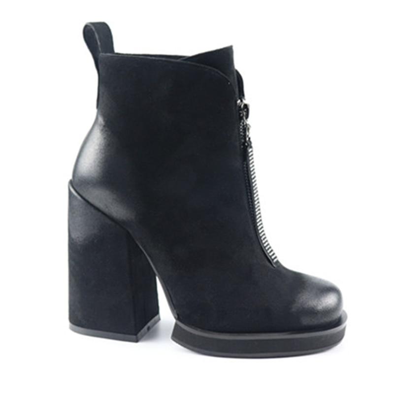 9 De Tacón Cuadrado Elegante Estilo Alta Yifsion Mujeres Del 5 Dedo Black Desgaste Tamaño Nuevo Agradable Las Club Botas Redondo Zapatos Negro D0712 Pie qc8ww1t