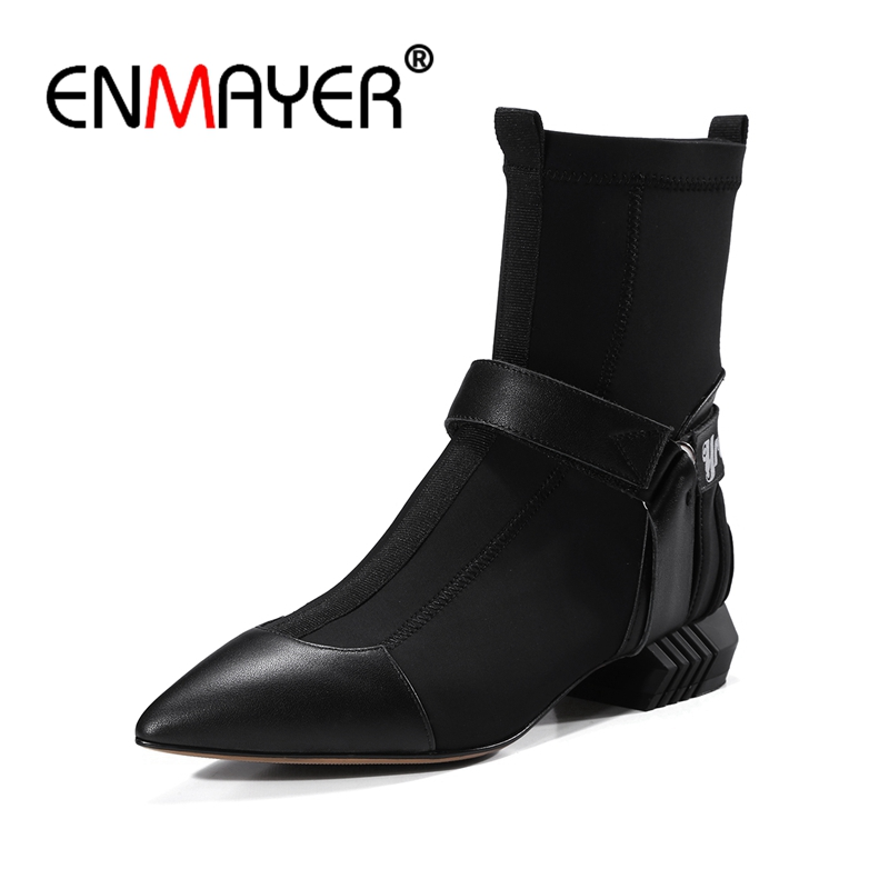 ENMAYER Womens Stretch Fabric Patchwork Slip-on Autumn Flats Ankle Boots Brand Design Pointed Toe Short Booties Shoes CR343