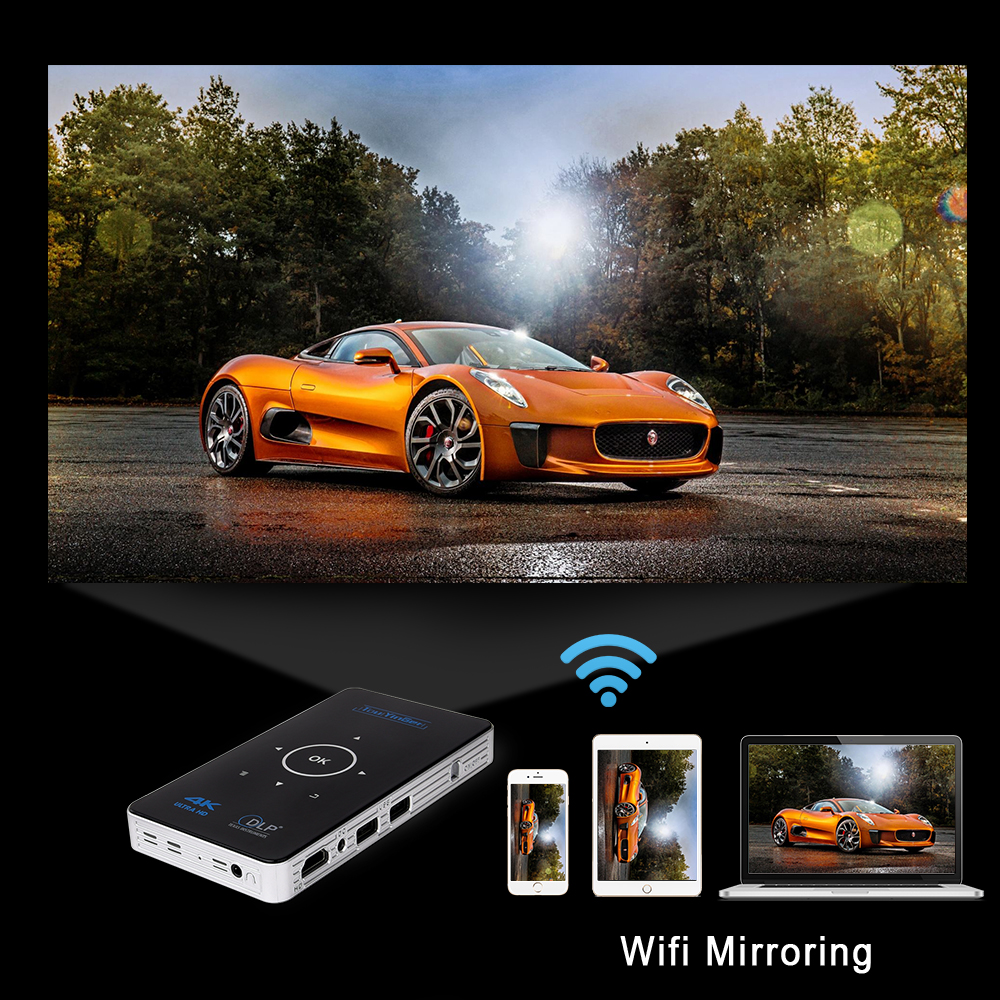 Soutien 4K 1080P Full HD vidéo dlp Portable mini projecteur wifi Airplay 2GB RAM Android Touyinger S9 AC3 HDMI Bluetooth Miracast - 4