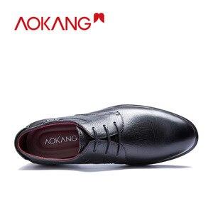 Image 3 - AOKANG جديد وصول الرجال فستان أحذية جلد أصلي للرجال أحذية ماركة أحذية الرجال البروغ أحذية عالية الجودة شحن مجاني 193211002