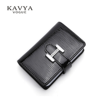 KAVYAVOGUE NEW Genuine Cow Leather Women Card Holder Business 20 Card Slot Ladies Card Wallet Card