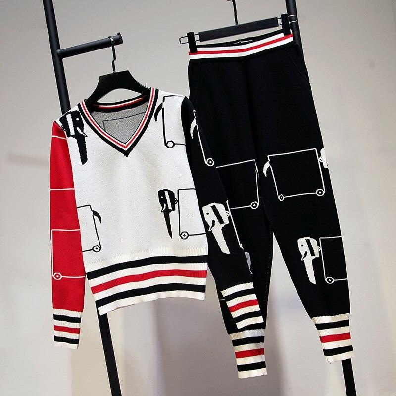 New Fashion Runway 2018 Designer Anzug Set Frauen Farbblock Stricken ...