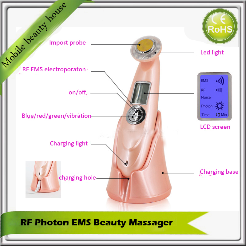 Needle Free Non Surgical RF Radio Frequency Skin Tightening Face Lifting Acne Treatment Massager Machine With Led Photon Light mini portable usb rechargeable ems rf radio frequency skin stimulation lifting tightening led photon rejuvenation beauty device