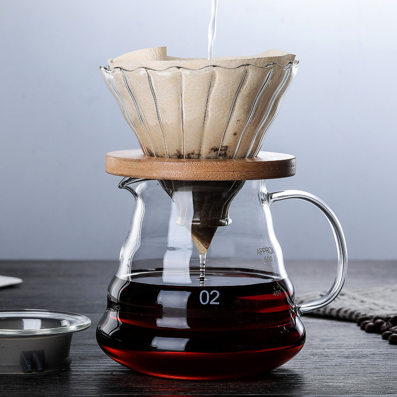 600ML 350ML Wooden brackets Glass Coffee Dripper and Pot Set for Hario style V60 Glass Coffee