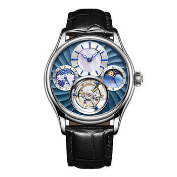Can Lettering Top Brand Mens Self Winding Mechanical Automatic 24 Gold Plated Leather Strap Original Tourbillon Hollow Movement - DISCOUNT ITEM  55% OFF All Category