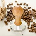 High Quality Stainless Steel 58mm Wooden Handle Coffee Tamper Barista Espresso Maker Grinder Handmade Flat Base Coffee Hammer
