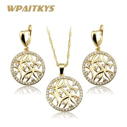 White Cubic Zirconia Necklace Pendant Earrings AAA Zircon Rose Gold Jewelry Sets For Women  Free Gift Box